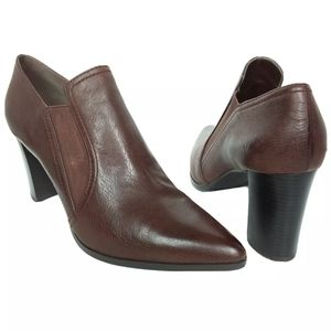 H by Halston Brown Point Leather Heeled Booties
